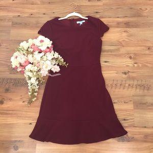 Scallop Sleeve Flounce Dress